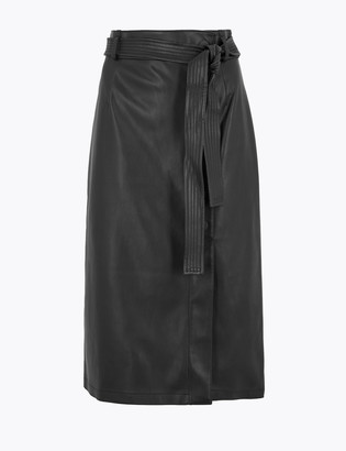Marks and Spencer Faux Leather Tie Waist Midi A-Line Skirt