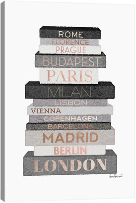 iCanvas City Books Europe, Grey & Rose Gold By Amanda Greenwood Wall Art