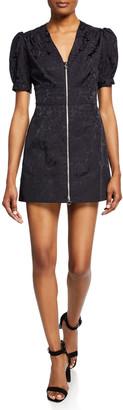 Jill Stuart Floral Zip-Front Short-Sleeve Mini Dress