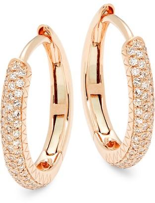 Saks Fifth Avenue 14K Rose Gold Pave Diamond Hoop Earrings