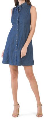 Diana Denim Sleeveless Short Shirt Dress