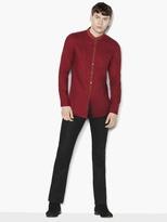 John Varvatos Linen Band Collar Shirt
