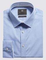 Marks and Spencer Pure Cotton Tailored Fit Shirt with Contrast Trim