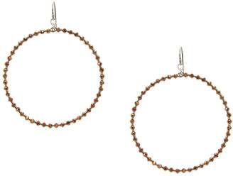 Chan Luu Silver Hoop Earrings with Bronze Crystals and Silver Seed Beads