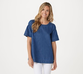 Martha Stewart Ruched Short-Sleeve Denim Blouse
