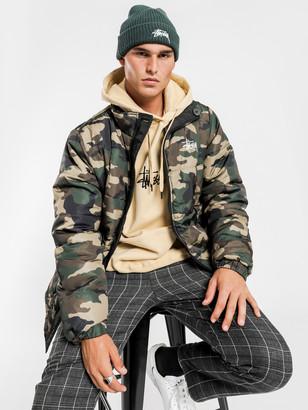 Stussy Graffiti Reversible Puffa Jacket in Camouflage Black