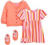 Isaac Mizrahi Striped Dress, Cardigan & Shoe Set (Baby Girls 0-9M)