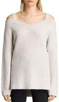 AllSaints Dasha Cold-Shoulder V-Neck Sweater