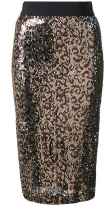 Milly leopard print glitter skirt
