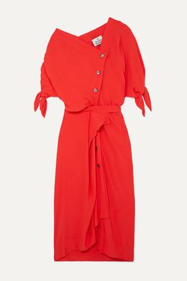 Vivienne Westwood Thaw Asymmetric Draped Crepe Midi Dress - Red