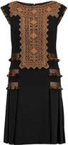 Etro Fringed embroidered crepe mini dress