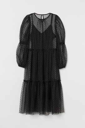 H&M Puff-sleeved Tulle Dress