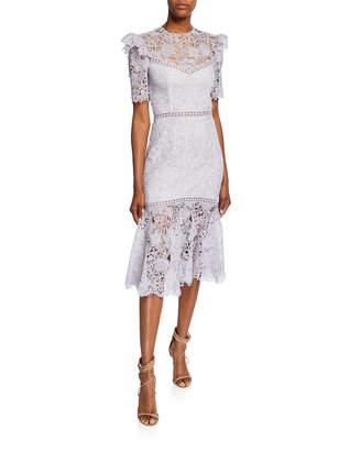Saylor Lazuli Open-Back Short-Sleeve Fit-&-Flare Lace Cocktail Dress