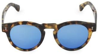 Illesteva Leonard Tortoise Mirrored 48MM Round Sunglasses