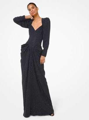 Michael Kors Collection Stud Embroidered Crepe Sable Draped Gown