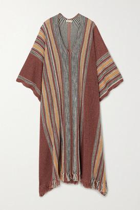 Etro Striped Linen-blend Poncho - Brick