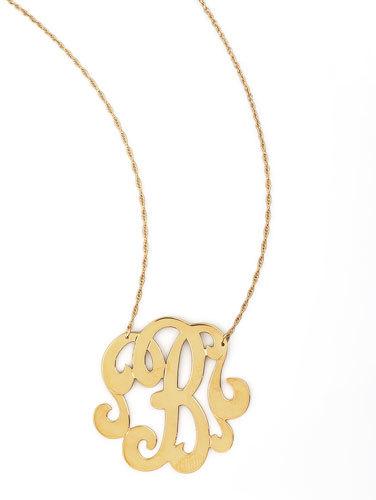 Jennifer Zeuner Jewelry Swirly Initial Necklace, B