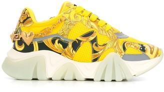 Versace Platform Signature-Print Sneakers