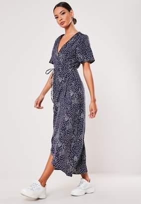 Missguided Tall Navy Polka Dot High Low Wrap Midi Dress
