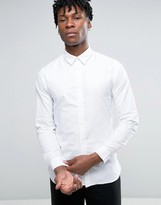 Selected Long Sleeve Slim Fit Oxford Shirt with Hidden Button Down Collar