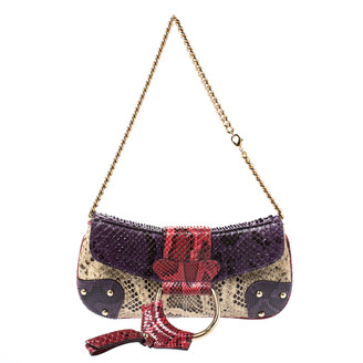 Dolce & Gabbana Multicolor Python D-Ring Flap Chain Hobo