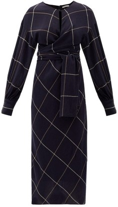 Three Graces London Victoria Wrap-front Checked Wool Dress - Navy