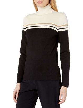 Anne Klein Women's Elbow Patch Turtleneck Sweater