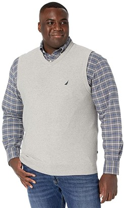 Nautica Big Tall Sweater V-Neck Vest (Medium Grey Heather) Men's Clothing