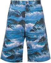Givenchy waves print Bermuda shorts