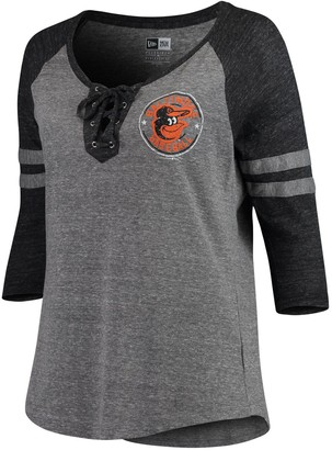 New Era Women's 5th & Ocean by Heathered Gray/Black Baltimore Orioles Plus Size Jersey Tri-Blend 3/4-Sleeve Raglan Lace-Up V-Neck T-Shirt