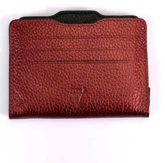 Hiva Atelier Double Card Holder Metallic Burgundy & Black