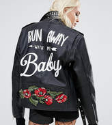 Reclaimed Vintage Revived Leather Biker With Studs & Back Print