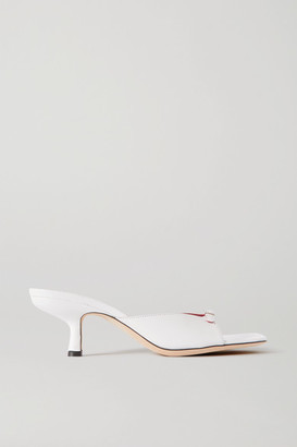 BY FAR Erin Buckle-embellished Leather Mules - White