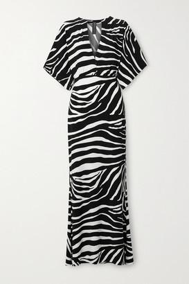 Norma Kamali Obie Zebra-print Stretch-jersey Maxi Dress - Zebra print