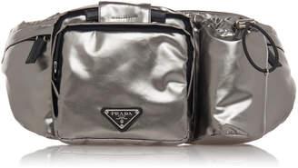 Prada Silver Nylon Hip Bag With Water Bottle Holder