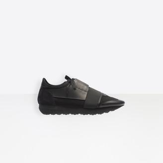 Balenciaga Race in black leather, nubuck, nylon, mesh and black elastic