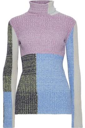 3.1 Phillip Lim Color-block Marled Ribbed-knit Turtleneck Sweater