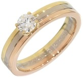 Cartier 18K Yellow White Pink Gold Diamond Ring Trinity Size 4.75