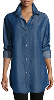 Go Silk Long-Sleeve Button-Front Denim Shirt, Plus Size