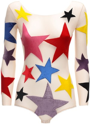 Alexia Hentsch Star Patches Tulle Bodysuit