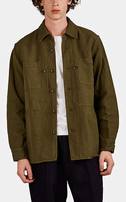 Sage De Cret Men's Linen-Cotton Denim Workshirt - Olive