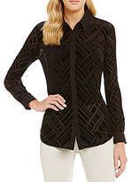 Jones New York Geometric Burnout Velvet Shirt