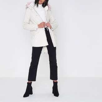 River Island Womens Cream faux fur trim short parka coat