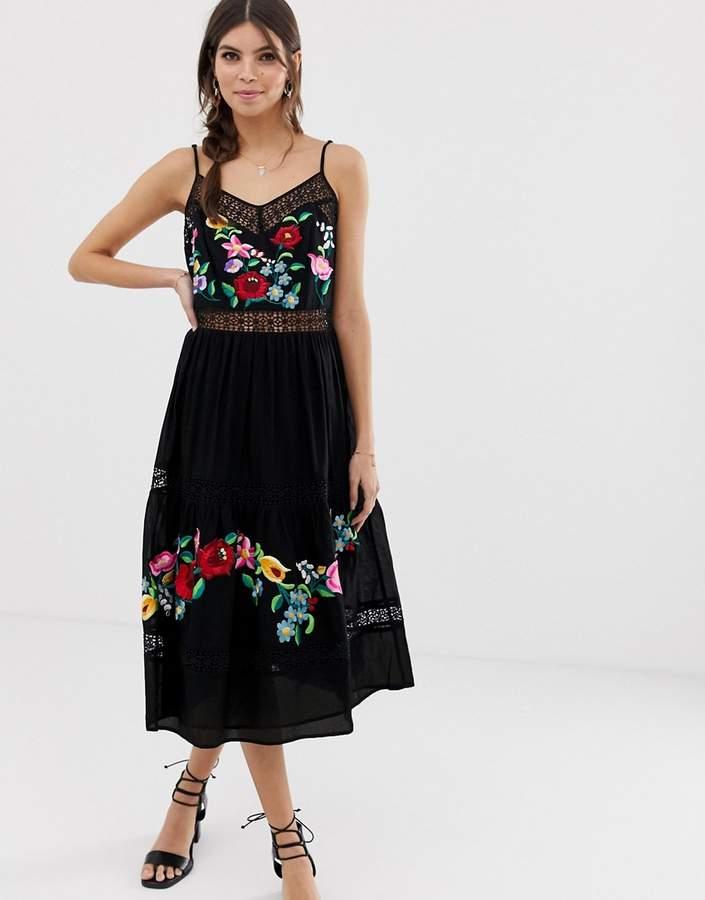 Asos Design DESIGN cami trapeze embroidered midi dress