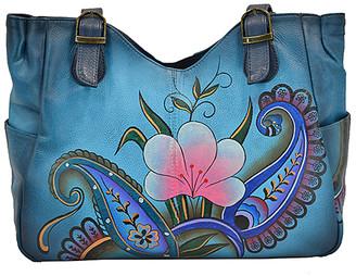 Anuschka Women's Handbags Denim - Denim Paisley Floral Hand-Painted Leather Tote