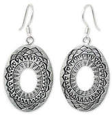 "Novica Artisan Crafted Sterling ""Lotus Shield""Dangle Earrings"