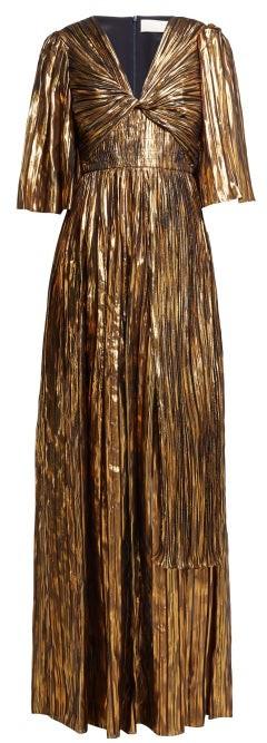 Peter Pilotto Striped Silk Blend Chiffon Gown - Womens - Gold Multi