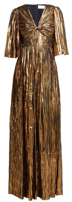Peter Pilotto Striped Silk-blend Chiffon Gown - Womens - Gold Multi
