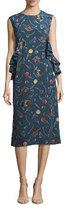 Marni Floral-Print Silk Midi Dress
