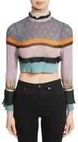 Undercover Women's Stripe Silk Crop Top